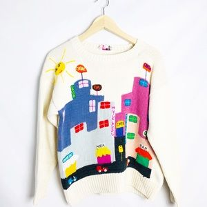 Fun Vintage 80s Knit City Sweater Made in Peru